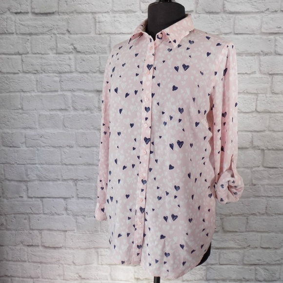 💕Abstract Hearts Button Sleeve Top Blouse Talbots